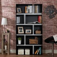 furniture of america cassidy tiered distressed grey 10 shelf open