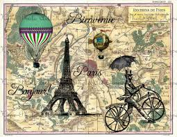 Map Paris France by Bonjour De Paris French Vintage Map Digital Collage Sheet Craft