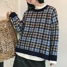 plaid sweater stian checkered houndstooth plaid sweater mixed color in clothing
