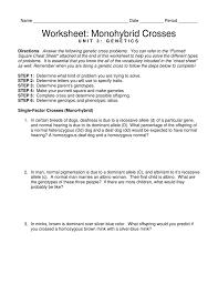 worksheet monohybrid crosses