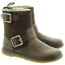 tan biker boots dr martens gayle fur lines biker boots in brown in brown