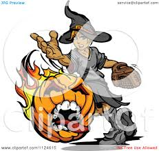 cartoon of a halloween witch pitching a flaming screaming pumpkin