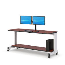 computer desk for dual monitors dual monitor stand up computer workstation afcindustries