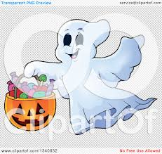 happy ghost clipart clipart of a cartoon happy halloween ghost with a pumpkin basket