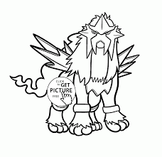 legendary pokemon entei coloring pages for kids pokemon