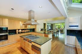 Kitchen Island Wall Grey Granite Countertop Bright Hiden Ceiling Lamp Modern Honey