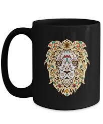 beautiful gift for lion fanciers stunning sugar skull lion coffee