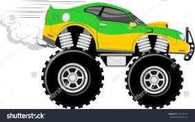 bigfoot monster truck cartoon monstertruck race car 4x4 cartoon isolated stock vector 142762417