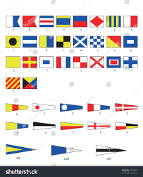 Flag Signals Meaning Complete Set Nautical Flags Letters Numbers Stock Vector 57510859