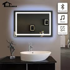 framing bathroom wall mirror 90 240v 50x70cm frame bluetooth illuminated wall mirrors for