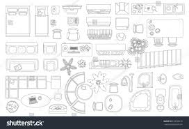 Floor Plan Furniture Store by Set Linear Icons Interior Top View Stock Vector 518830615