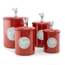 rooster canister set red kitchen canisters rustic kitchen decor