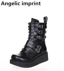 short black motorcycle boots angelic imprint mori women cosplay punk motorcycle boots lady