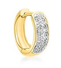 mens gold earrings carissima gold men s 9 ct yellow gold pave set diamond single