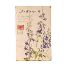 wilco imports floral periwinkle blue campanule wooden wall plaque