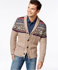 hilfiger sweater mens lyst hilfiger roger s cable knit shawl collar cardigan in