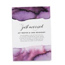 elopement announcements just married cards elopement announcements purple watercolor