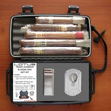 Cigar Gift Set Lotus Travel Humidor Gift Set With Cigar Cutter And Lighter