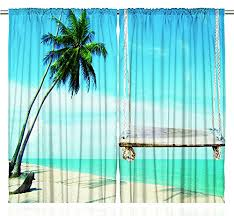tropical island palm tree swing large window curtain set of two
