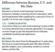 difference between resume c v and bio data u2013 tell my story