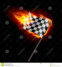 Flag On Fire Orange Racing Car And Chequered Flag Stock Photo Image 3959498