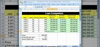 Microsoft Spreadsheet How To Compare Loans With A Spreadsheet In Microsoft Excel
