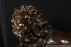 lions statues pair italian bronze lion statues lions gatekeepers ebay