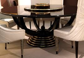 BLACK LACQUER  GOLD LEAF TABLES Taylor Llorente Furniture - Black lacquer dining room set