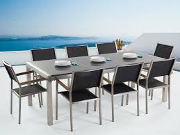 outdoor dining set polished granite top and black chairs grosseto