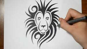 how to draw a lion tribal tattoo design style youtube