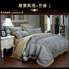 Jacquard Bedding Sets Luxury Blue Paisley Gold Satin Jacquard Bedding Sets King