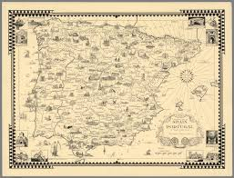 Spain And Portugal Map by A Pictorial Map Of Spain And Portugal By Ernest Dudley Chase