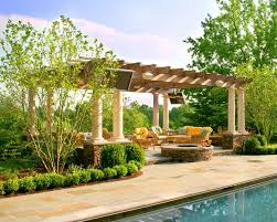 pergola stone bases patio traditional with ground pools