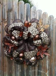 deco mesh leopard print burlap wreath chocolate by goblinsandholly