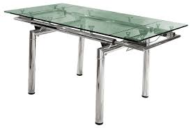 contemporary modern expandable dining table with glass top and