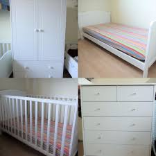Nursery Cot Bed Sets by Baby Bedroom Set White Cot Toddler Bed Wardrobe Chest Of Drawers
