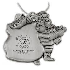 Pewter Holiday Ornament Santa And Toy Bag Closeout