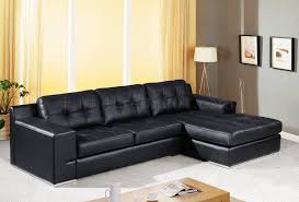 Black Sectional Sofa With Chaise Jade Sectional Sofa In Black Leather W Tufted Cushions