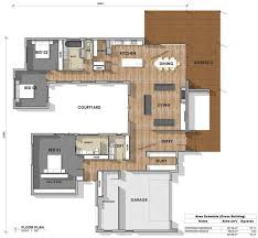 u shaped houses floor plan built designs courtyard ranch swimming garage middle