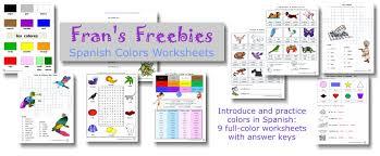 fran u0027s freebies spanish colors worksheets u2013 home education resources