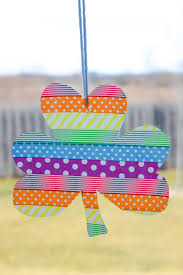washi tape shamrock suncatchers typically simple