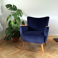 Deep Armchair Navy Velvet Danish Armchair Florrie Bill