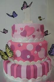 butterfly 1st year old 3 tier birthday cake cakecentral com