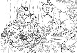birds fox henny penny coloring free printable