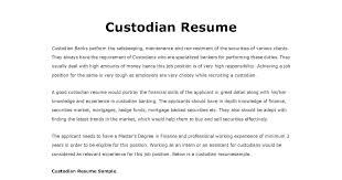 Custodian Resume Skills Homework Helpers Cover Letter Customer Service Representative Bank
