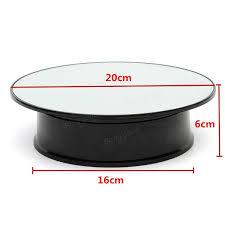 8 inch top mirror glass rotating rotary display stand turntable