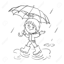 coloring page outline of a cartoon joyful boy walking in the