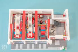 ground floor of the classic lego fire station moc with 3 garage