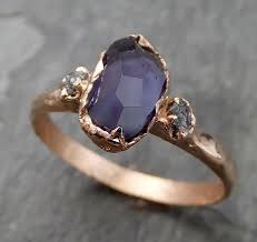 chagne diamond engagement ring partially faceted color change garnet diamond 14k gold