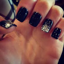 black nails silver glitter tip accent nails n a i l s